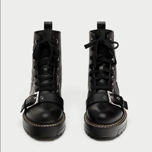 ZARA Leather Buckle Lace Up Combat Floral Boot